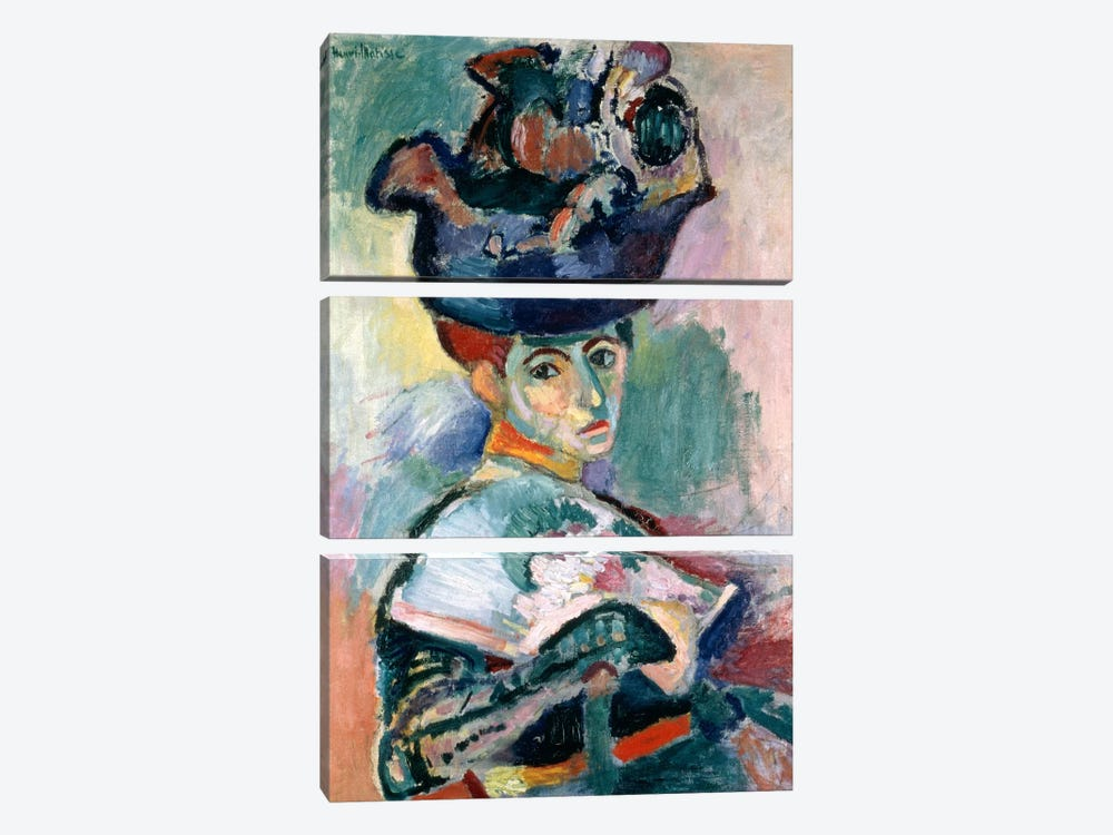 Woman in a Hat (1905) by Henri Matisse 3-piece Canvas Art