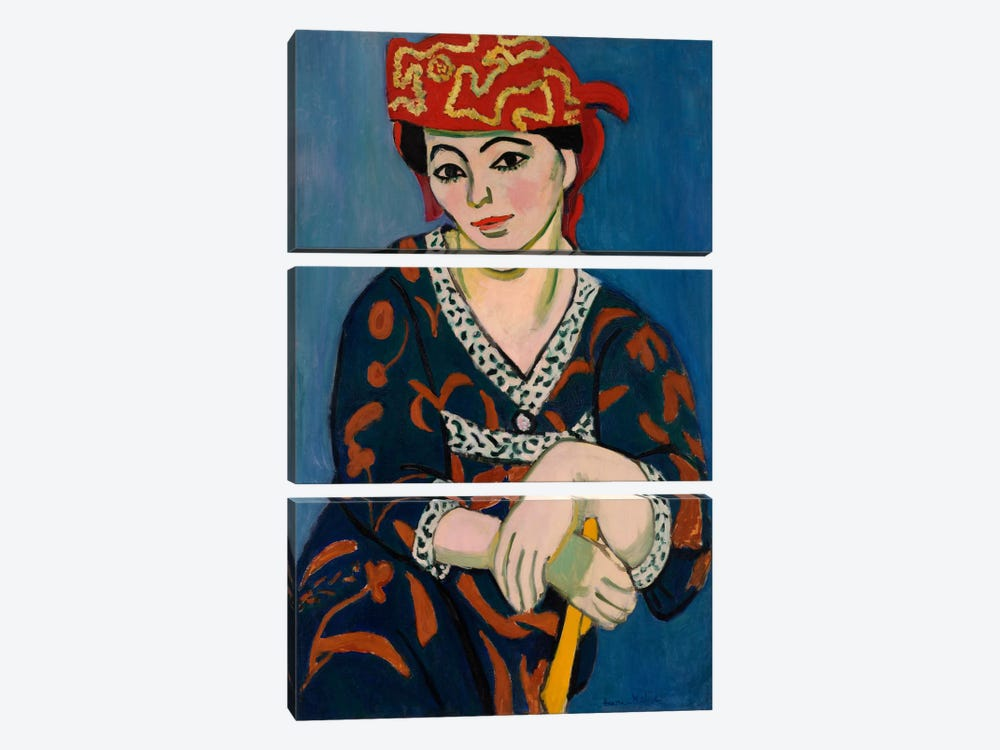 Le Madras Rouge or Red Madras Headdress (1907) by Henri Matisse 3-piece Canvas Art Print