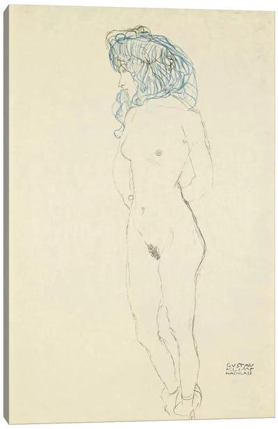Standing Female Nude, Arms Crossed in the Back (Stehender Frauenakt, Mit Im Rucken Verschrankten Armen) 1906-1907 Canvas Print #1114