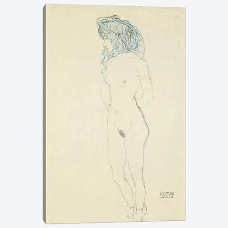 Standing Female Nude, Arms Crossed in the Back (Stehender Frauenakt, Mit Im Rucken Verschrankten Armen) 1906-1907 Canvas Print #1114} by Gustav Klimt Canvas Print