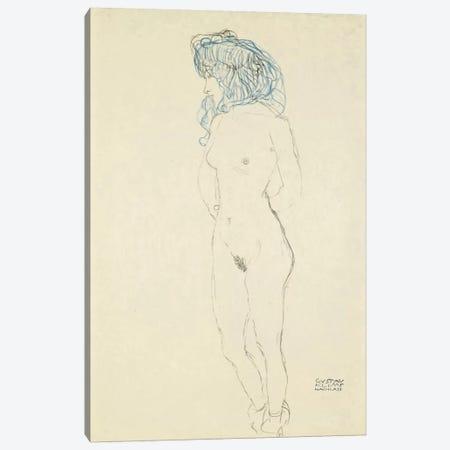 Standing Female Nude, Arms Crossed in the Back (Stehender Frauenakt, Mit Im Rucken Verschrankten Armen) 1906-1907 Canvas Print #1114} by Gustav Klimt Canvas Print