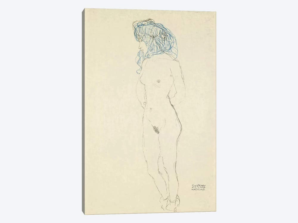 Standing Female Nude, Arms Crossed in the Back (Stehender Frauenakt, Mit Im Rucken Verschrankten Armen) 1906-1907 by Gustav Klimt 1-piece Canvas Art