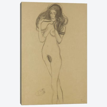 Standing Female Nude Facing Left, Holding Her Hair (Stehender Madchenakt Nach Links, Die Haare Mit Den Handen Haltend) Canvas Print #1115} by Gustav Klimt Canvas Print