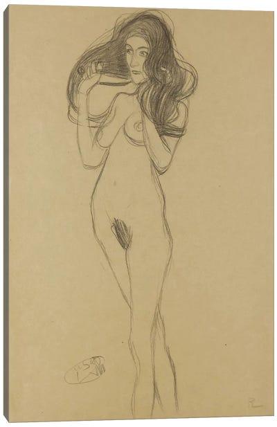 Standing Female Nude Facing Left, Holding Her Hair (Stehender Madchenakt Nach Links, Die Haare Mit Den Handen Haltend) Canvas Print #1115