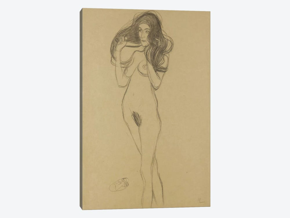 Standing Female Nude Facing Left, Holding Her Hair (Stehender Madchenakt Nach Links, Die Haare Mit Den Handen Haltend) by Gustav Klimt 1-piece Canvas Print