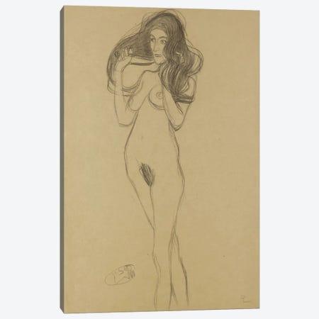 Standing Female Nude Facing Left, Holding Her Hair (Stehender Madchenakt Nach Links, Die Haare Mit Den Handen Haltend) Canvas Print #1115} by Gustav Klimt Canvas Print