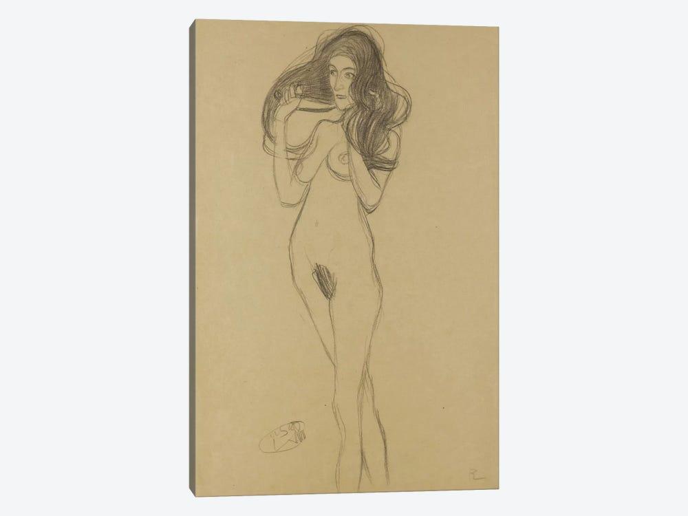 Standing Female Nude Facing Left, Holding Her Hair (Stehender Madchenakt Nach Links, Die Haare Mit Den Handen Haltend) by Gustav Klimt 1-piece Canvas Print