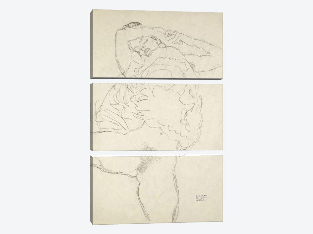 Reclining Semi-Nude With Spread Legs (Liegender Halbakt Mit Gespreizten Beinen) 1917-1918 by Gustav Klimt 3-piece Canvas Art