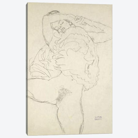Reclining Semi-Nude With Spread Legs (Liegender Halbakt Mit Gespreizten Beinen) 1917-1918 Canvas Print #1116} by Gustav Klimt Art Print
