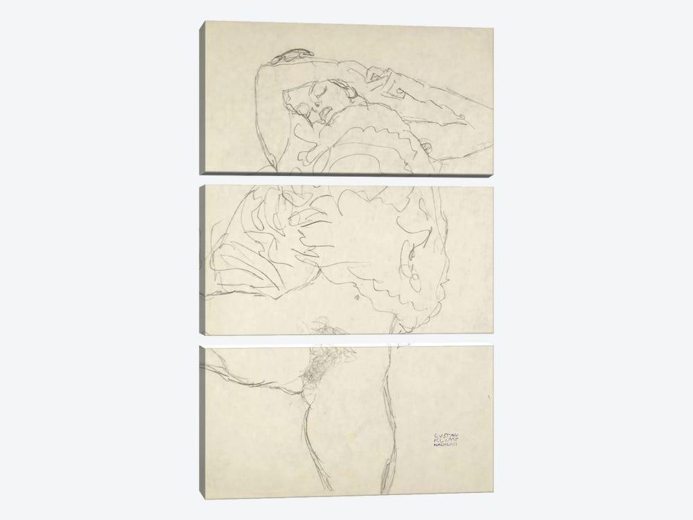 Reclining Semi-Nude With Spread Legs (Liegender Halbakt Mit Gespreizten Beinen) 1917-1918 by Gustav Klimt 3-piece Canvas Art