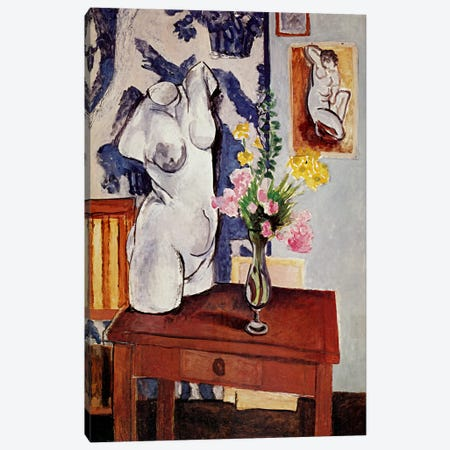 Plaster Torso and Bouquet of Flowers Canvas Print #11178} by Henri Matisse Canvas Print