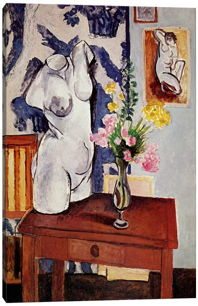Plaster Torso and Bouquet of Flowers Canvas Art Print