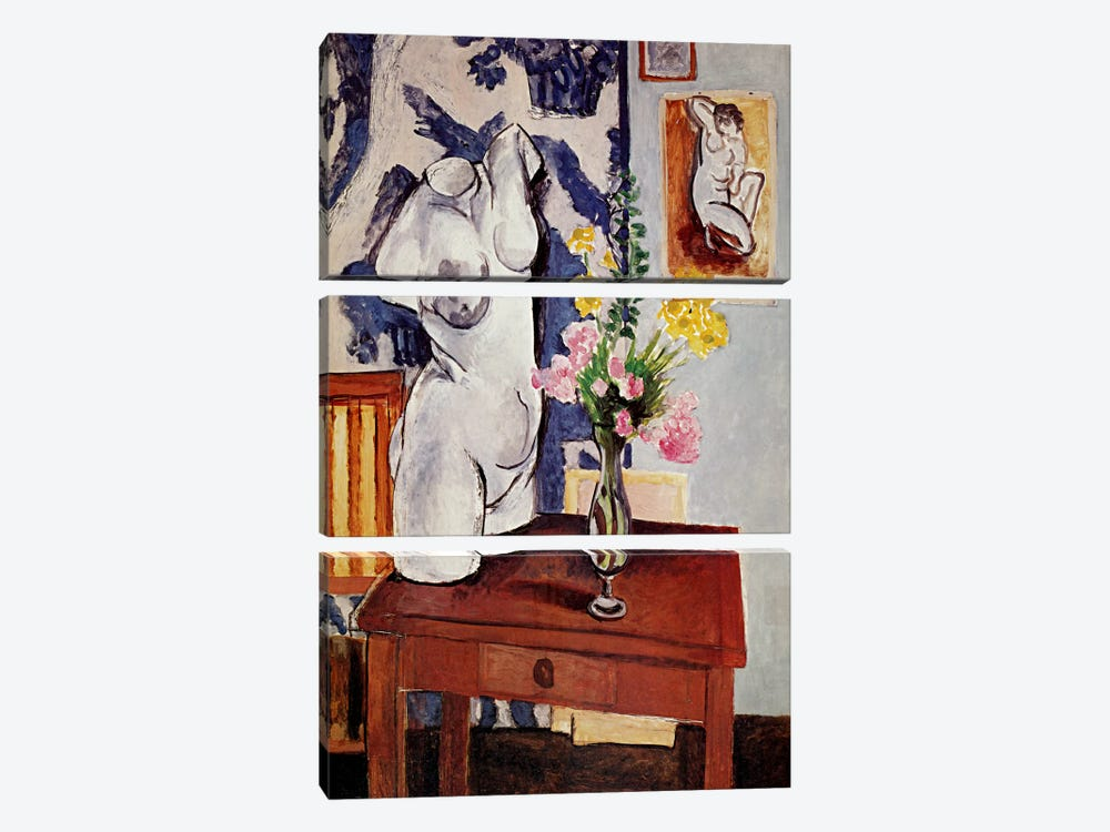 Plaster Torso and Bouquet of Flowers by Henri Matisse 3-piece Canvas Artwork