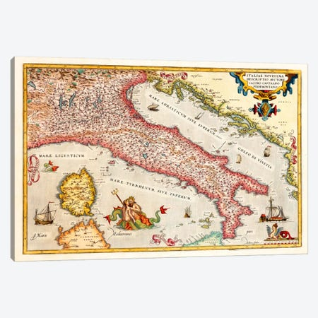 Antique map of Italy Canvas Print #11185} by Unknown Artist Canvas Art Print