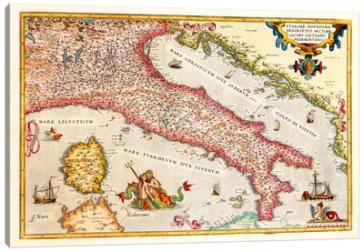 Antique map of Italy Canvas Art Print