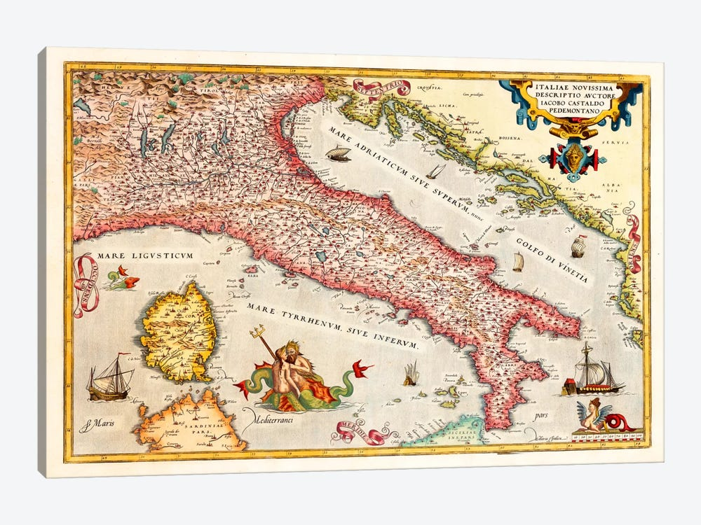 Antique map of Italy 1-piece Canvas Wall Art