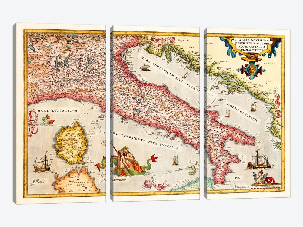 Antique map of Italy 3-piece Canvas Wall Art
