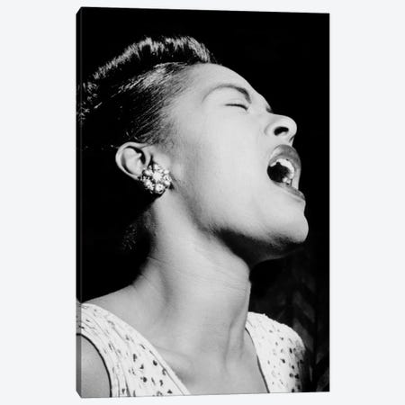 Portrait of Billie Holiday, Downbeat, New York, N.Y., ca. Feb. 1947 Canvas Print #11214} by William P Gottlieb Canvas Art Print