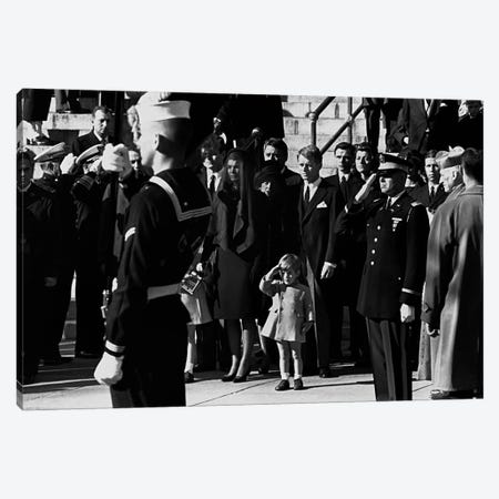 John F. Kennedy Jr. salutes his father's coffin along with the honor guard, 1963 Canvas Print #11215} by Unknown Artist Canvas Print