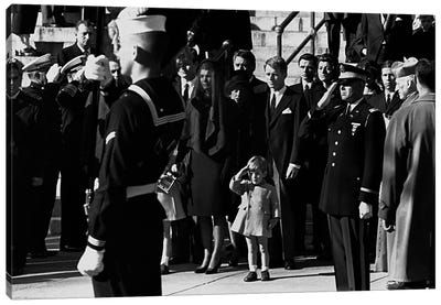 John F. Kennedy Jr. salutes his father's coffin along with the honor guard, 1963 Canvas Art Print