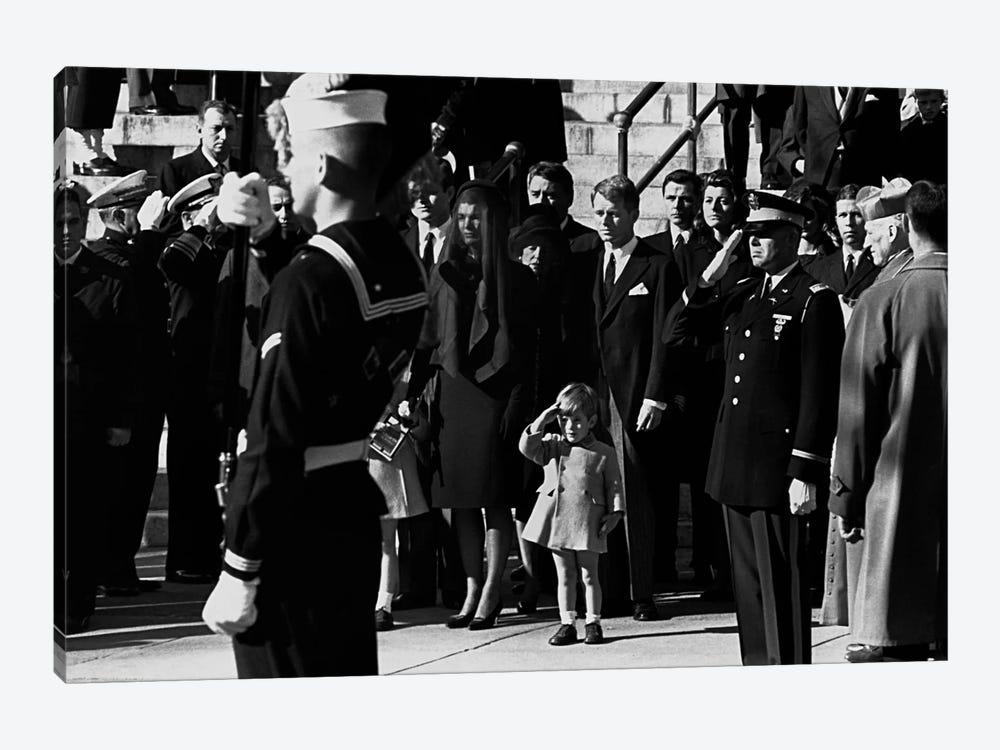John F. Kennedy Jr. salutes his father's coffin along with the honor guard, 1963 1-piece Canvas Print