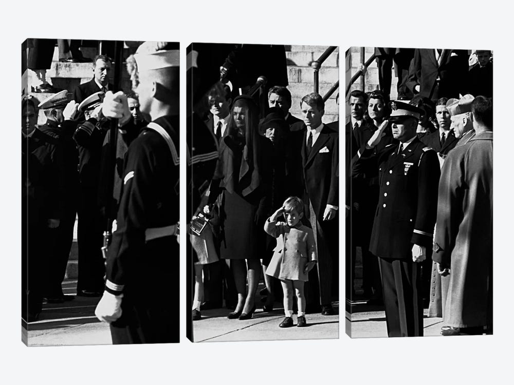 John F. Kennedy Jr. salutes his father's coffin along with the honor guard, 1963 3-piece Canvas Print