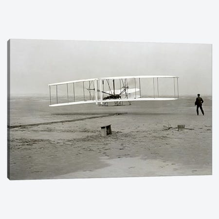 The Wright Brothers - First Flight Canvas Print #11217} by Kitty Hawk Art Print