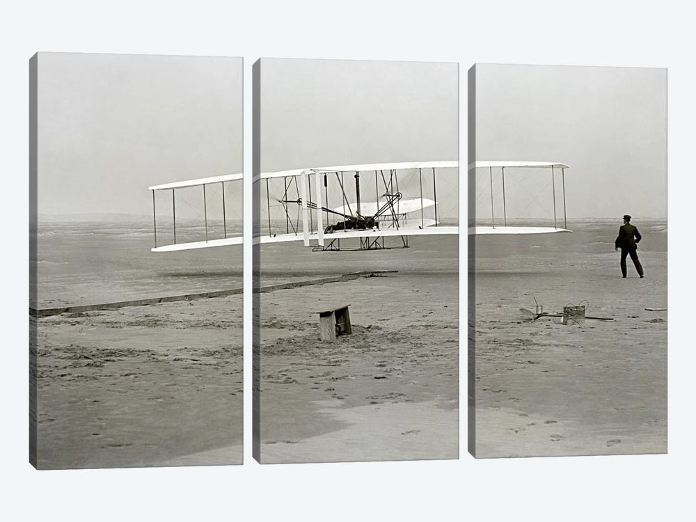The Wright Brothers - First Flight by Kitty Hawk 3-piece Art Print