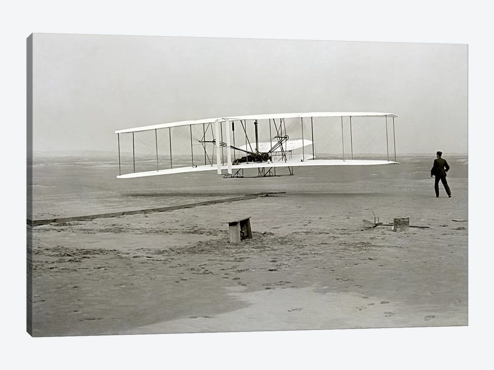 The Wright Brothers - First Flight by Kitty Hawk 1-piece Canvas Art Print