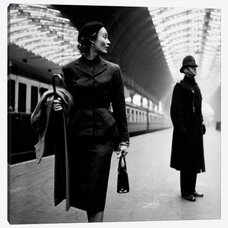 Lisa Fonssagrives at Paddington Station Canvas Print #11218} by Toni Frissell Canvas Art