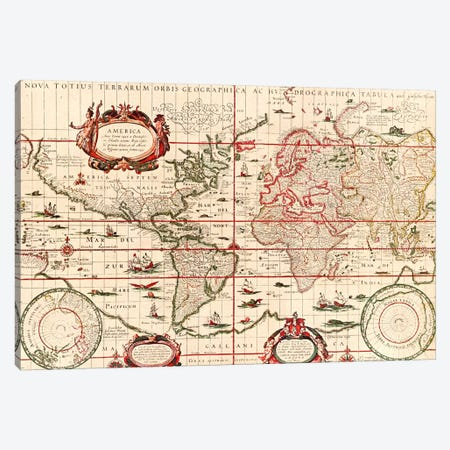 Antique World Map (Blaeu, Willem Janszoon, 1606) Canvas Print #11228} by Unknown Artist Canvas Art Print