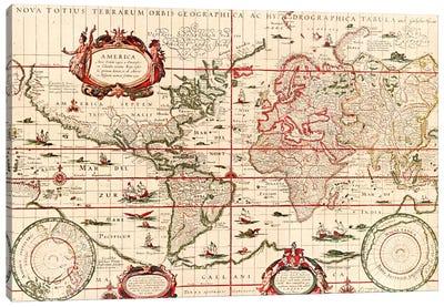 Antique World Map (Blaeu, Willem Janszoon, 1606) Canvas Art Print
