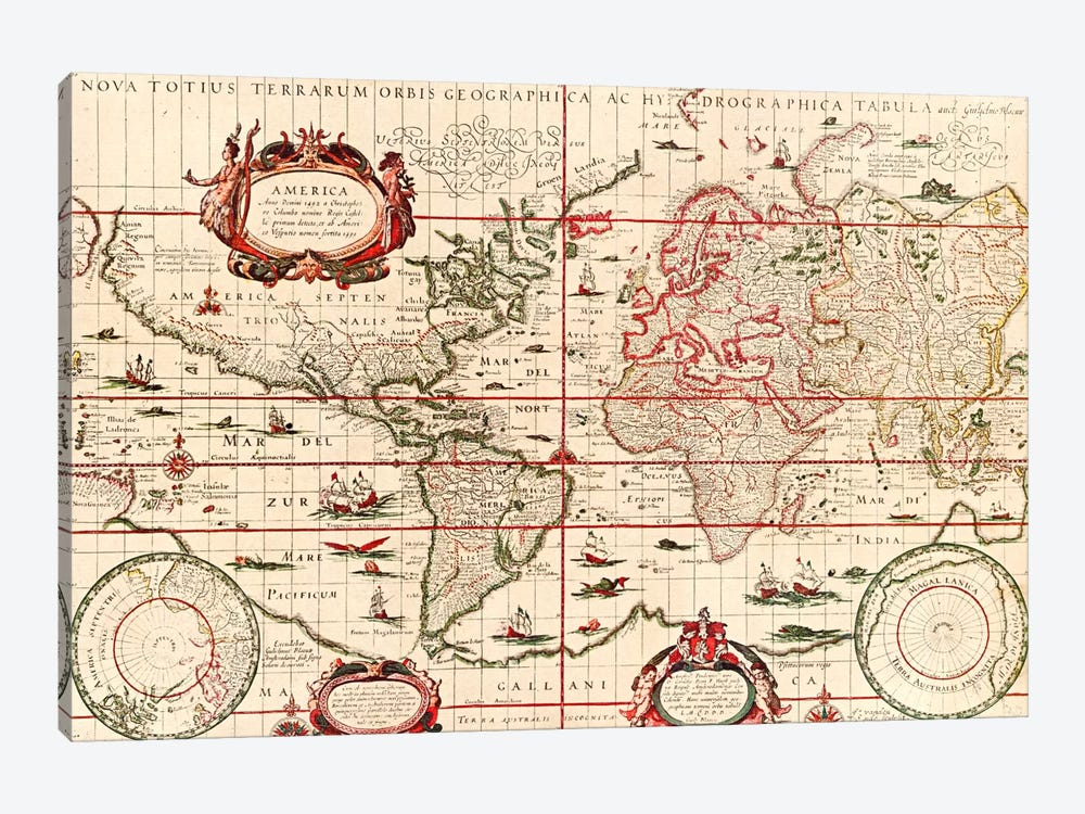 Antique World Map (Blaeu, Willem Janszoon, 1606) by Unknown Artist 1-piece Canvas Print