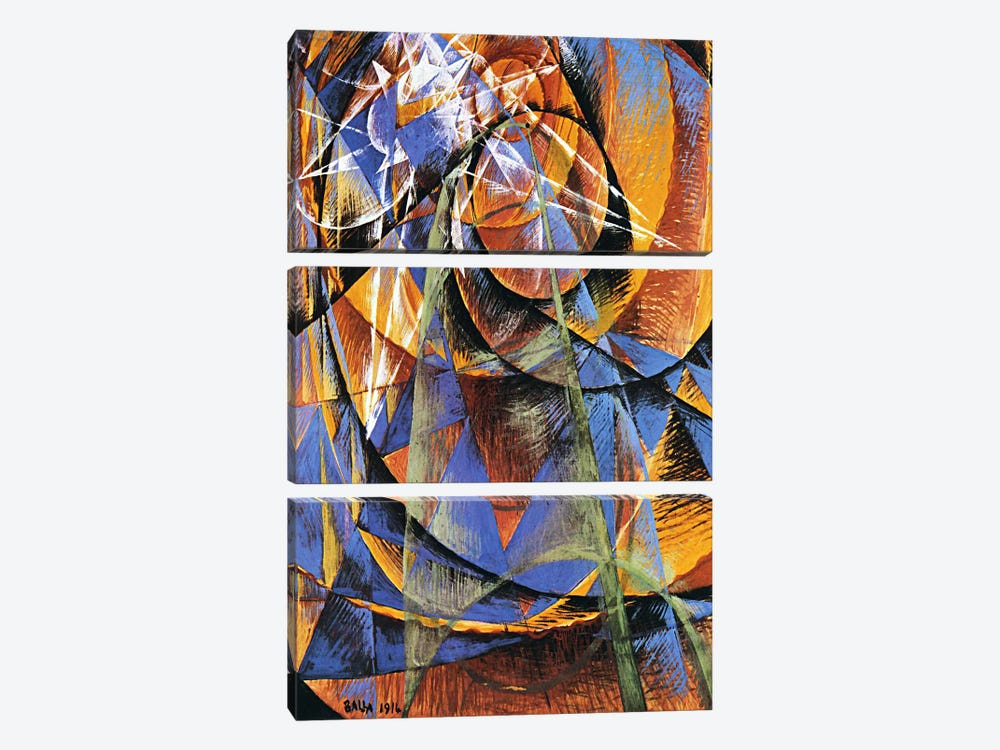 Planet Mercury passing in front of the Sun by Giacomo Balla 3-piece Art Print