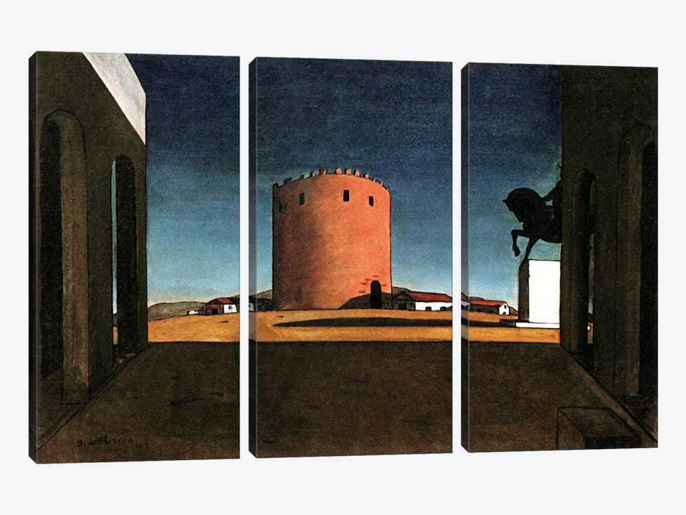 The Red Tower by Giorgio de Chirico 3-piece Canvas Wall Art