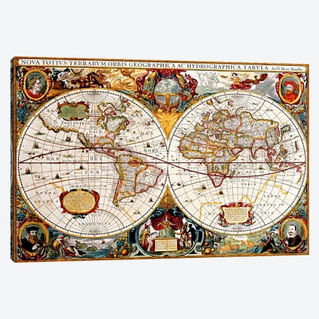 Antique Double Hemisphere Map of The World (Hondius, Henricus c 1630) Canvas Print #11252} Canvas Artwork