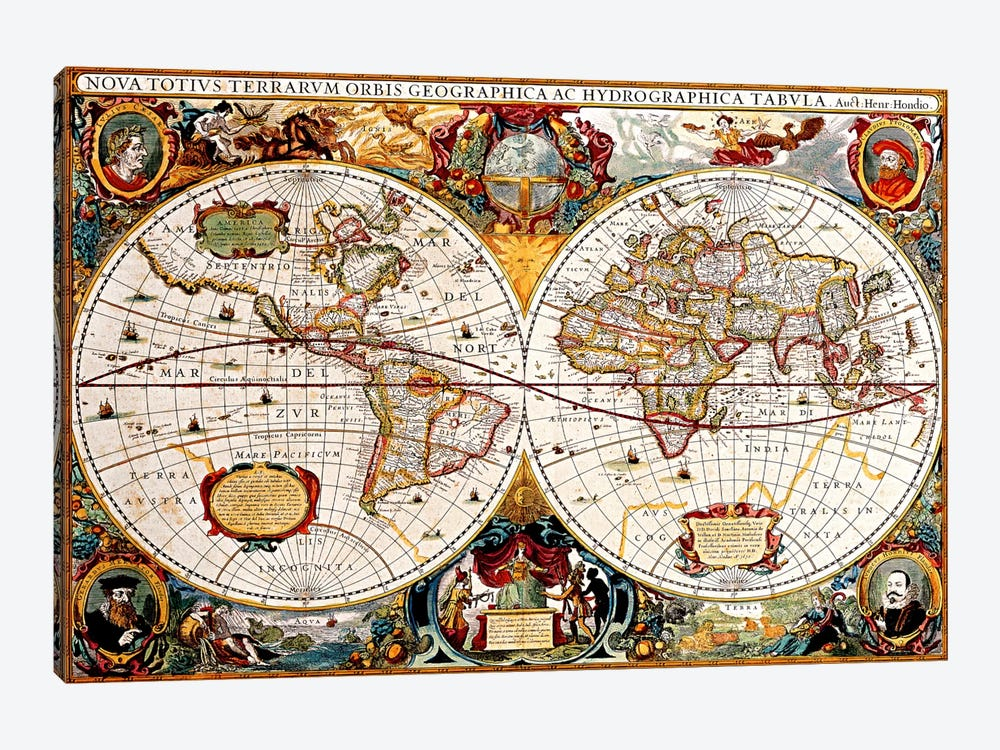 Antique Double Hemisphere Map of The World (Hondius, Henricus c 1630) by Unknown Artist 1-piece Canvas Wall Art