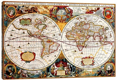 Antique Double Hemisphere Map of The World (Hondius, Henricus c 1630) Canvas Art Print