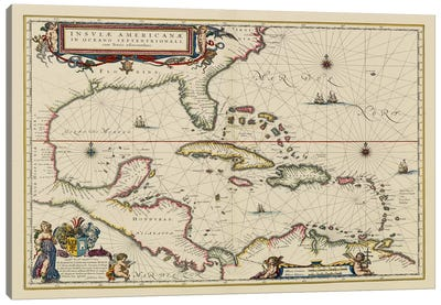 West Indies, Central America, 1635 Canvas Art Print