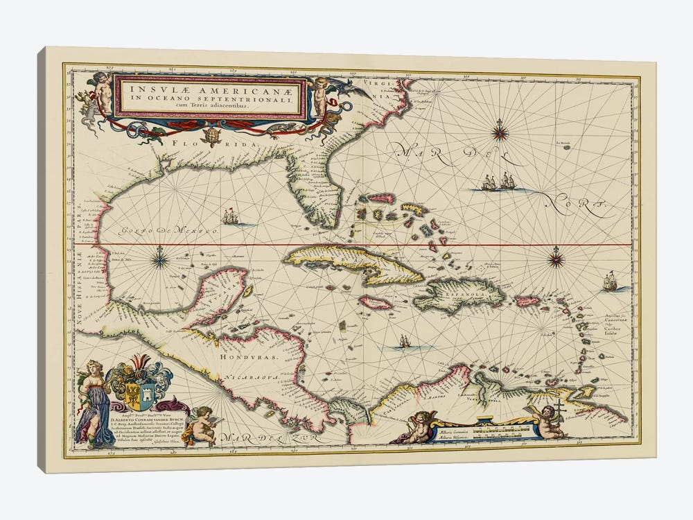 West Indies, Central America, 1635 by Unknown Artist 1-piece Canvas Art