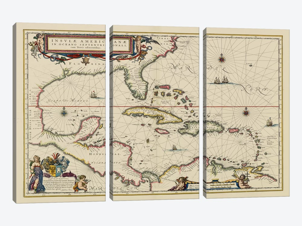 West Indies, Central America, 1635 by Unknown Artist 3-piece Canvas Wall Art