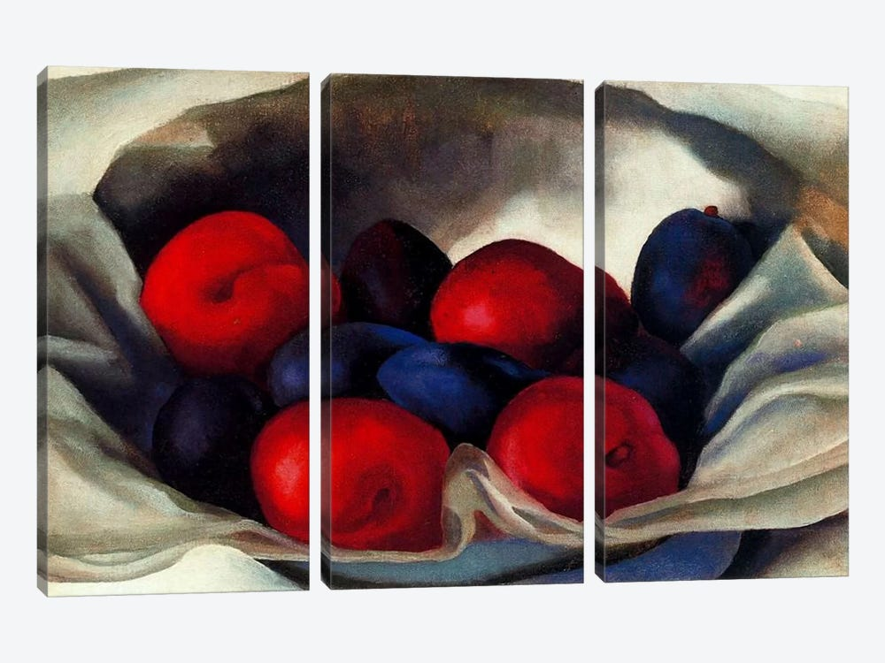 Plums by Georgia O'Keeffe 3-piece Canvas Art Print