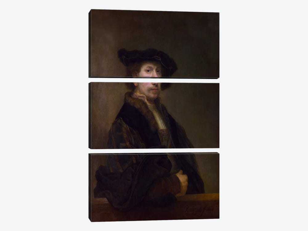 Self Portrait at the Age of 34 1640 by Rembrandt van Rijn 3-piece Art Print