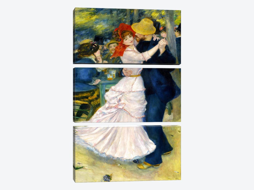 Dance at Bougival by Pierre-Auguste Renoir 3-piece Art Print
