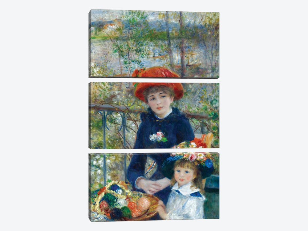 Two Sisters (On the Terrace) 1881 by Pierre-Auguste Renoir 3-piece Art Print