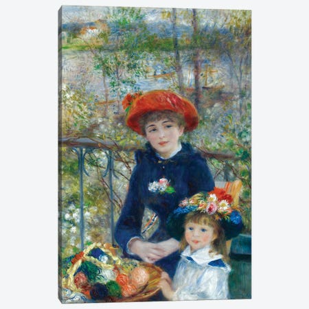 Two Sisters (On the Terrace) 1881 Canvas Print #1131} by Pierre-Auguste Renoir Canvas Artwork