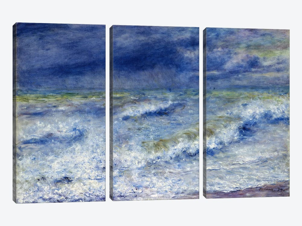 La vague 1879 by Pierre-Auguste Renoir 3-piece Canvas Print