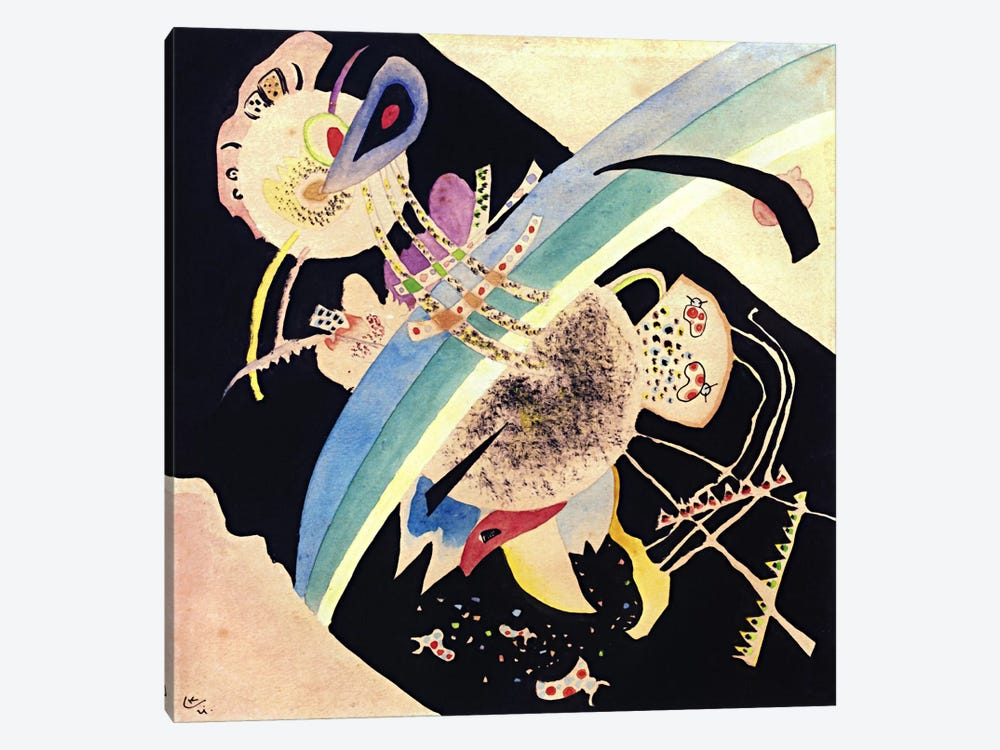 "Study for ""Circles on Black"" by Wassily Kandinsky 1-piece Canvas Wall Art"