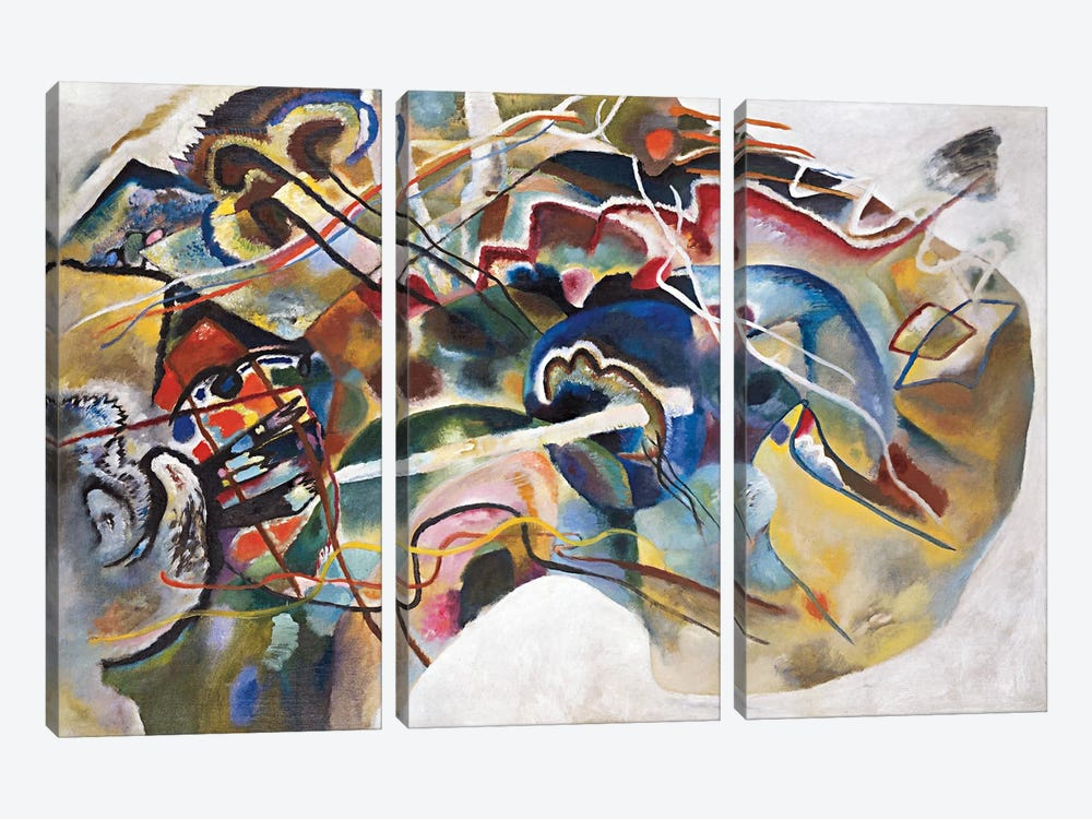 Painting with White Border by Wassily Kandinsky 3-piece Canvas Art