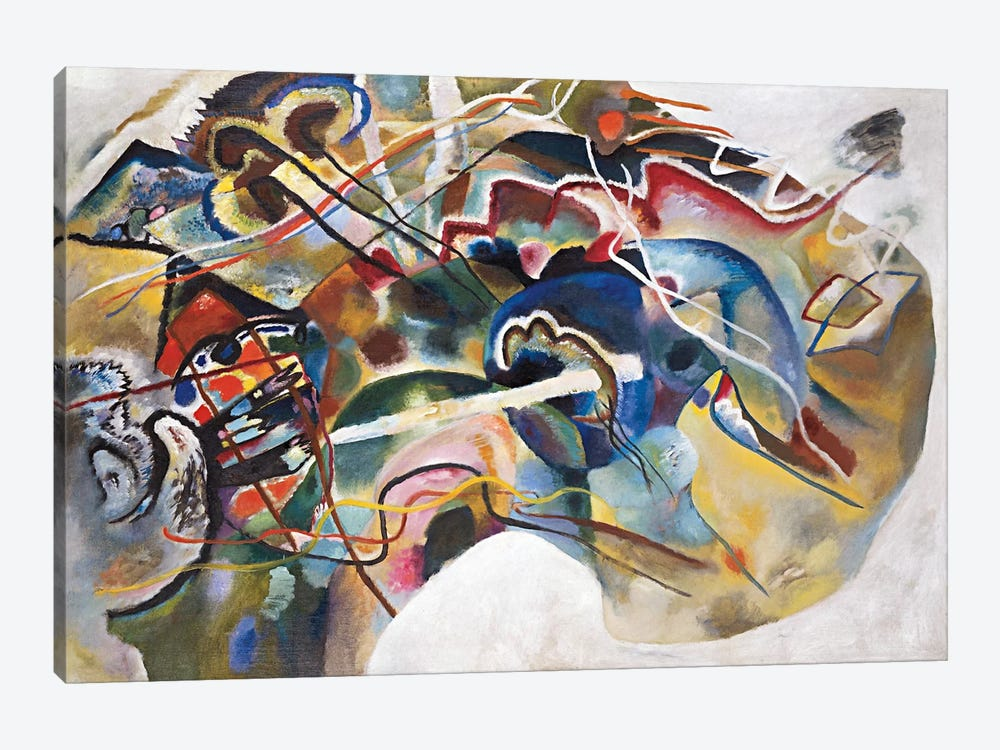 Painting with White Border by Wassily Kandinsky 1-piece Canvas Wall Art